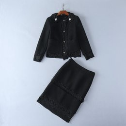 Wholesale European Suit Skirt - European and American women's wear 2017 The new winter pint Metal decoration Cloth coat skirt Fashion suits