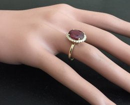 Wholesale Yellow Gold Natural Ruby Ring - 5.80 Carats Red Ruby and Natural Diamond 14K Solid Yellow Gold Ring