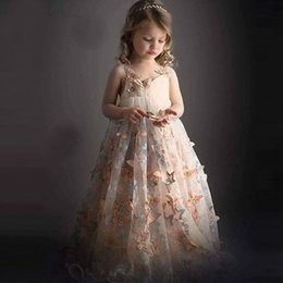 Wholesale Ball 3d Model - Most Beautiful 2017 Spaghetti Straps 3D Butterfly High Quality Lace Fabric Custom made Ball Gown Flower Pageant Girl Dresses HB34