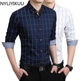 Wholesale Good Casual Dressed Men - Wholesale- New Men casual shirts slim fit M-3XL 100% cotton clothing mens dress shirts male clothes social shirt men good shirt