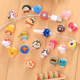 Wholesale Data Cable Iphone Pin - 24 styles Cable Winder Lovely Cute Cartoon Cord Saver Cover For Apple iPhone 8 7 plus Pin Charger Data Cable Protective Protector Saver