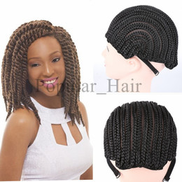 Wholesale Crocheted Wigs - Popular Black Cornrow Wig Caps For Making Wigs With Adjustable Strap Braided Cap 10pcs pack For Wig Cap Crochet Synthetic Braid