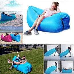 Wholesale Double Bedding Bag - Fast Inflatable Air Sleeping Bag Waterproof Lazy Sofa Bed Festival Camping Hiking Travel Hangout Beach Bag Bed Camping Banana Couch Free DHL