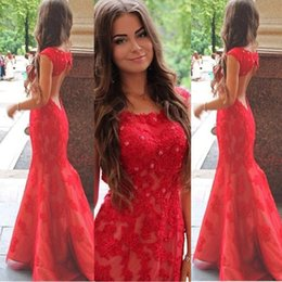 Wholesale Cheap Black Shoulder Bags - Red word collar, 2017 sexy leakage, back shoulder Lace Applique, fishtail long skirt bag, hip back zipper tail skirt Prom Dresses cheap mail