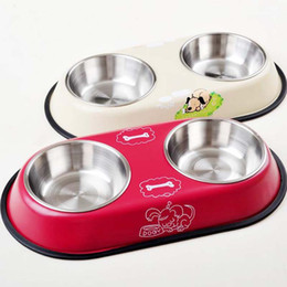Wholesale Double Bowl Pet Feeder - 2017 new High Quality Stainless Steel Pet Bowl With Cute Cartoon Anti-slip Water & FoodFeeder Double Bowl Mix Color free shipping