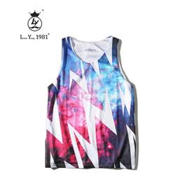 Wholesale Wholesale Galaxy Shirts - Wholesale- Brand New Summer Fashion Harajuku Men Vest 3D Print Space Galaxy Lighting Hip Hop Tank Top Hip Hop Sleeveless Tee Shirt