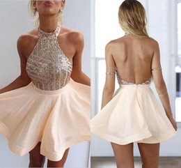 Wholesale Short Sexy Halter Dress - 2017 Cheapest Blush Peach Halter Neck Homecoming Dresses Blingbling Sequins Bodice Backless Chiffon A-line Short Prom Evening Gowns CPS507