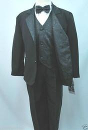 Wholesale New Black Tuxedo Boy S - New Baby,Toddler & Boy Jacquard Formal Black Tuxedo Suit Baptism New born - 20