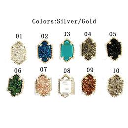 Wholesale Green Earrings Studs - Hot sale Luxury Earrings Gold Plated ladies Geometric Natural stone Druzy Stud Earrings For women's Fashion Brand Jewelry