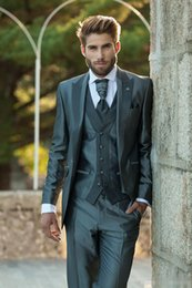 Wholesale Wool Shawl For Wedding Dress - New color customization dark green dress coat + pants + + vest men two buttons PROM dresses for men wedding fashion suits