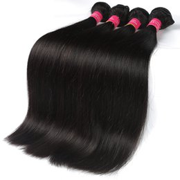 Wholesale Cheap Brazilian Remy Hair Extensions - 8A Grade Human Hair Extensions Straight Hair weaves Cheap Brazilian Virgin Human Hair Bundles 1B Color Unprocessed Brazilian Virgin Remy