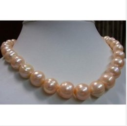 "Wholesale real white pearl necklace - 11-13MM real natural South Sea Pink Baroque Pearl Necklace 18""+ gift earrings"