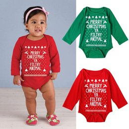 Wholesale Baby Animal Bodysuits - Baby Merry Christmas Ya Filthy Animal Toddler Bodysuit Cotton Bodysuits Spring Fall Long Sleeve Baby Clothing