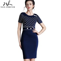 Wholesale Evening Polka Dot Formal Dress - Wholesale- Nice-forever Button Dress Polka Dot formal Short Sleeve Women Pinup Rockabilly Tunic Bodycon Evening Shift Midi Work Dress b69