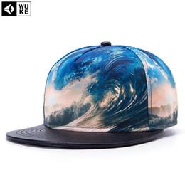 Wholesale Transfers Wholesale Hat - Wholesale- [Wuke] 2016 New Fashion Hip-Hop Hat Waves 3D Heat Transfer Process Topped Baseball Cap Flat Hats Z-2628