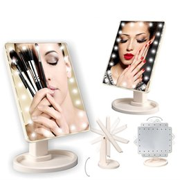 Wholesale Compact Table - 2017 Touch Screen LED Cosmetic Mirror 16 22 LED Lamps 360°Rotating Folding Table Makeup Mirror Compact Pocket Makeup Tool Best Gift
