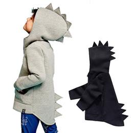Wholesale 4t Girls Coats - Dinosaur Hoodies Heavy Woolen Cloth Zipper Kids Autumn Winter Children's Boys Girls Coats Outdoor Sport Jackets Outfits 1-5T