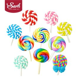 Wholesale Lollipops Molds - Wholesale-10pcs lot Birthday Party Cake Decorations Cool Fashion Lollipop Colorful Clay Mini Lollipops Molds Child Toy Lovely Kid Gifts