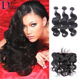 Wholesale Indian Top Closure - 13x4 Frontal Lace Closures With 3 Bundles Brazilian Peruvian Indian Malaysian Hair Bundles Top Lace Frontal Closures 7A Grade Human Hair