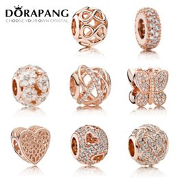 Wholesale Black Cross Charms - DORAPANG Wholesale 925 Sterling Silver Bead Charm With Rose Gold Plated & Clear Cubic Zircon Fit European Pandora Bracelet Top Quality