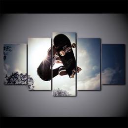 2019 спортивные фотографии бесплатно HD напечатаны 5 шт. холст искусство скейтборд живопись x-спорт настенные панно для гостиной Современный бесплатная доставка дешево спортивные фотографии бесплатно