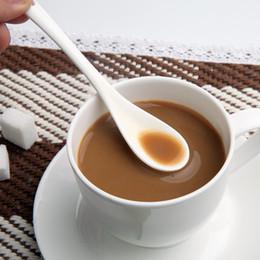 Wholesale Ceramic Teaspoon - Wholesale- Porcelain Coffee Spoons Pure White Bone China Coffee Spoon Small Spoon Ice Cream Teaspoons Kitchen Tool