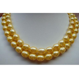 """Wholesale Huge Golden South Sea Pearls - HUGE AAA+ 10-13MM South Sea Golden Baroque Pearl Necklace 35"""" 14K GOLD CLASP"""