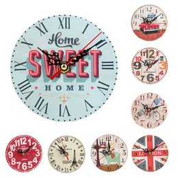 Wholesale Vintage Style Wholesale Home - Wholesale-Small 12CM Vintage Style Silent Antique Wood Wall Clock Retro Home battery wall hanging clocks Living room study room decoration