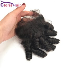 Wholesale Original Closures - Aunty Funmi Peruvian Lace Closure Cheap Bouncy Spring Curly Human Hair Silk Top Closures Original Egg Curl Pieces Bleached Knots