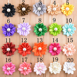 "Wholesale Satin Flower Pearl Center - 2"" Mini Satin Ribbon Solid flower pearl in the center DIY Flowers without clips hair accessories 100pcs lot Free shipping FH04"