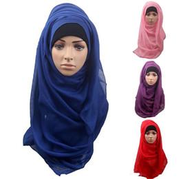 Wholesale Top Hat Head Wear - Top Sale Women Islamic Head Wear Hat Underscarf Full Cover Inner Muslim Hijab Wrap Cap Solid Color