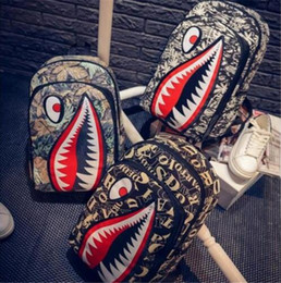 Wholesale Top Girls Backpack - Fashion Leopard Shark Mouth Backpacks For Teenagers Top quality Travel Backpack Kids School Bags Cool Laptop Bag Free shipping