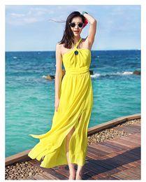 vestidos formais para a festa na praia Desconto 2017 praia simples vestidos de verão chiffon vestido de festa formal robe de soirée barato sem mangas tornozelo comprimento longo