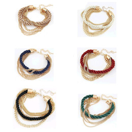 Wholesale Handmade Fashion Decorations - NEW Fashion Design Girl Jewelry Handmade Rope Chain Decoration Gold Chain Multilayer Bracelet Charm Bangle Wholesale