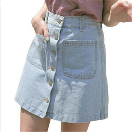 Wholesale New Skirts Denim Fashion - New Women Summer Denim Skirts Fashion High Waist Blue Bodycon Skirts Plus Size Mini Jeans Skirt High Quality Jeans Skirt