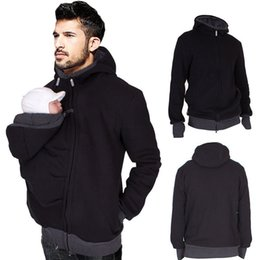 Wholesale Full Zip Hooded - Men's Autumn Baby Carrier Hoodie Zip Up Maternity Dad Kangaroo Hooded Sweatshirt Pullover 2 In 1 Baby Carriers C2920