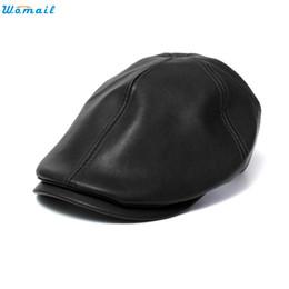 Wholesale Men Faux Leather Drop - Wholesale-Newly Design Fashion Vintage Faux Leather Beret Cap Men Women Unisex Hats 160418 Drop Shipping