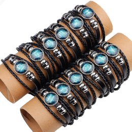 Wholesale China Handmade Leather Charm Bracelets - Vintage black handmade leather bracelet men bracelets & bangles for women pulseira masculina wristbands femme