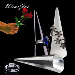 Wholesale Wholesale Jewelry Carrying Case - Portable Acrylic Finger Cone Model Ring Storage And Carrying Stand Rack Holder Counter Top Mini Jewelry Display Show Case Shelf
