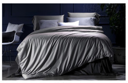 Wholesale Gold King Size Duvet Cover - Silver Grey Bedding set 100% Egyptian Cotton sheets bed in a bag sheet duvet cover linen quilt bedspread King Queen size 4PCS