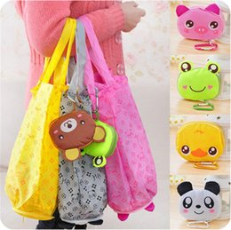 Wholesale Cartoons Hangings Doors - Lovely big head Cartoon shopping bag Animal shape Folding bag Portable Fashion waterproof Environment-Friendly Bag IA841