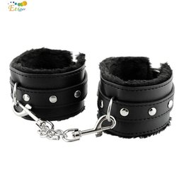 Wholesale Halloween Bondage Costume - Black Soft PU Leather Handcuffs Restraints Bondage Sex Products Sex Toys Costume Tools