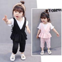 Wholesale Three Piece Suit Chinese - 2017 New Fashion Children Set Girl Summer Lace Three-piece Sets Short Sleeve t-Shirt + Vest + Short Pants Children Clothing Suits B4728
