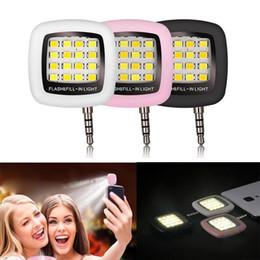Wholesale 16 Led Flash - Portable Mini 16 LED Selfie Flash Fill Flash Light illuminated Snapshot 3.5MM for Samsung S6 S7 iPhone 6 7 Plus
