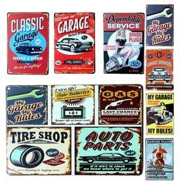 Wholesale Car Wall Plaque - Wholesale- Vintage Metal Tin Sign Car Repair Shop Garage Retro Plaque Poster Bar Pub Club Wall Tavern Garage Home Decor 7 Style 1pcs