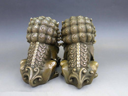 Wholesale Dogs Draw - Chinese Brass Copper Animal Feng shui Foo Dog Lion town house Statue pair Home Decor Decoration Crafts Statues & Sculptures