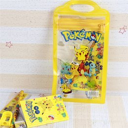 Wholesale Cartoon Erasers - Pikachu cartoon children's stationery suit pencil pendant eraser ruler baby kids School Supplies set Pencil Bags 1411