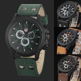 Wholesale Vintage Army Watch - Wholesale- 4 Color Vintage Classic Men's Waterproof Date Leather Strap Sport Quartz Army Watches Dress Wristwatch Reloj Hombre Clock