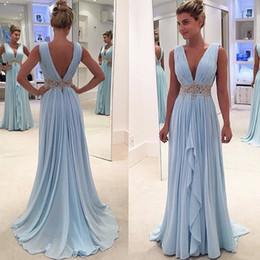 Wholesale Plunge Chiffon Dress - Best Selling Sky Blue Evening Gowns Plunging V Neck Pleated Low Back Sashes Sleeveless Sweep Train Prom Dresses 2017