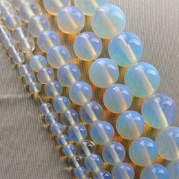 Wholesale Blue Round Stone Beads - Wholesale 2pc set package High Quality opal Round Moonstone Stone Bead Jewelry Accessories For Necklace Bracelet 4mm 6mm 8mm 10mm 12mm